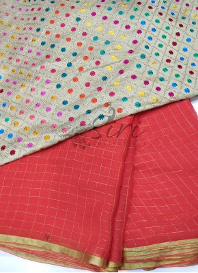 Tomato Red Fine Chiffon Saree in Zari Checks