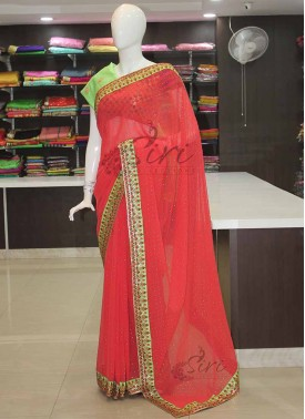 Tomato Red Georgette Designer Saree in Mukesh Work