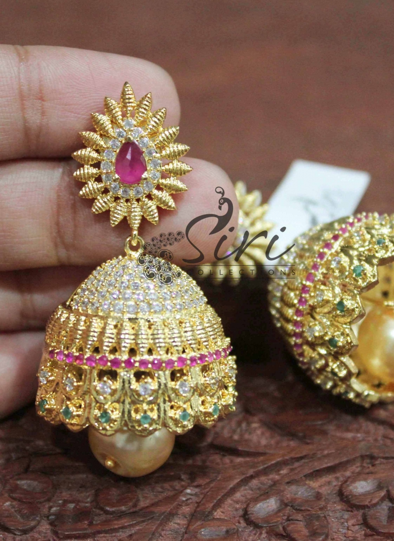 Traditinal Multi colour AD Stone Jhumkis with Pearl Drop