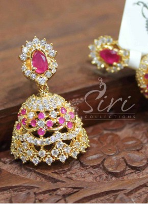 Traditional AD Ruby Jhumkis