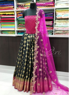 Traditional Banarasi Organza Lehenga with Banarasi Silk Blouse Fabric and Cut Work Dupatta