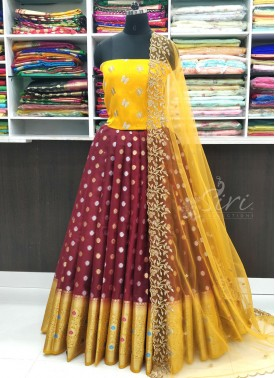 Traditional Banarasi Organza Lehenga with Raw Silk Blouse Fabric and Cut Work Dupatta
