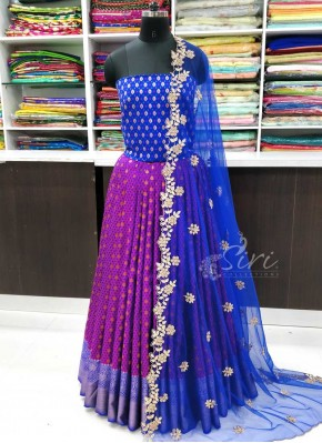 Traditional Banarasi Silk Lehenga Blouse Fabric and Cut Work Dupatta