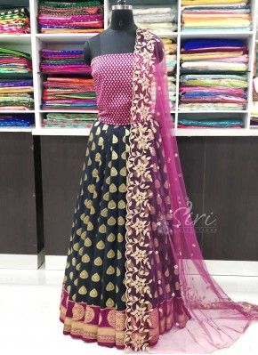 Traditional Banarasi Silk Lehenga Fabric Raw Silk Blouse and Cut Work Dupatta