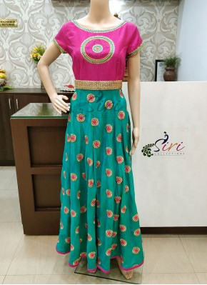 Traditional Cyan Blue Green and Pink Raw Silk Hand Work Long Frock