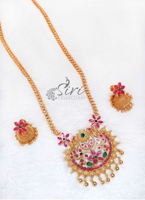 Traditional Gold Micro Polish Kemp Stones Necklace Haaram Set