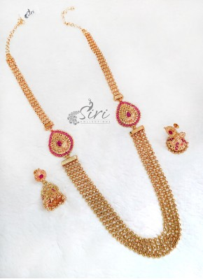 Traditional Gold Micro Polish Kemp Stones Step Haaram Set