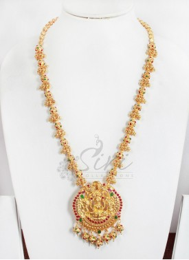 Traditional Lakshmi Pendant in Long Beads Chain Necklace