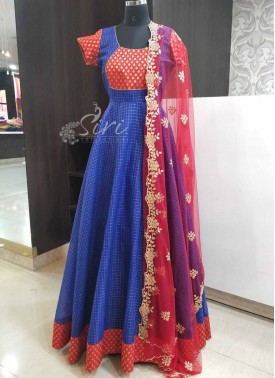 Traditional Long Frock in Blue and Red with Cut Work Dupatta