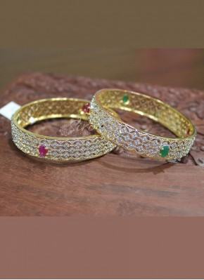 Traditional Look CZ Pair of Bangles in Ruby and Emerald