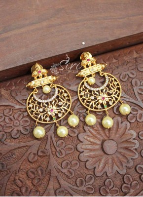 Traditional Matt Finish Gold Polish Chand Baali Earrings