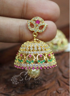 Traditional Multi AD Stone Jhumkis with Pearl Drop