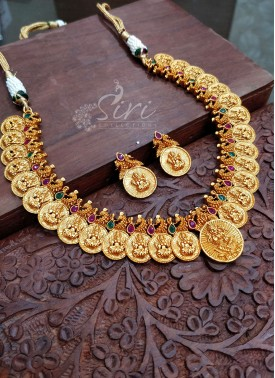 Traditional Necklace Set in Lakshmi Design and Matt Finish