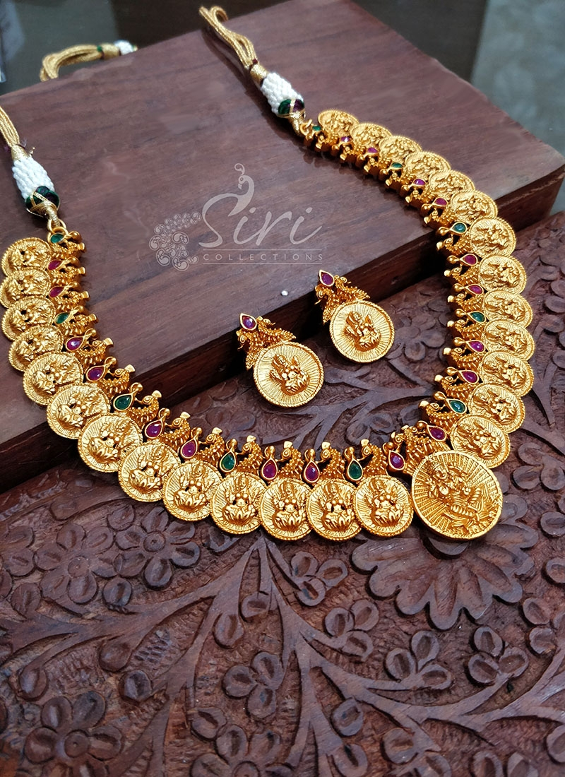 1607c86b4 Traditional Necklace Set in Lakshmi Design and Matt Finish