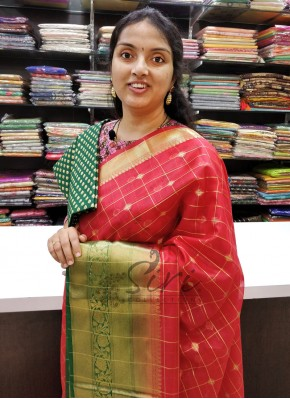 Traditional Red Green Banarasi Organza Saree