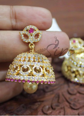 Traditional Ruby AD Stone Jhumkis with Pearl Drop