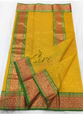 Traidtional Pure Yellow Chanderi Silk Saree in Rich Borders
