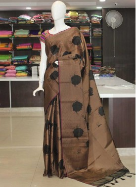 Trendy Black Brown Soft Kora Saree