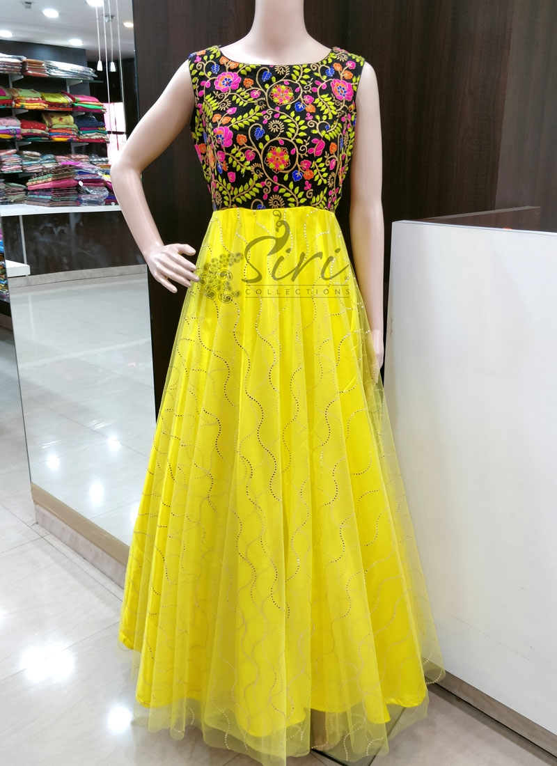 Trendy Black Lemon Yellow Georgette and Net Long Frock