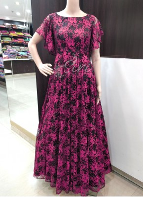 Trendy Black Pink Lace Net Frock in Bell Sleeves