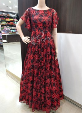 Trendy Black Red Lace Net Frock in Bell Sleeves
