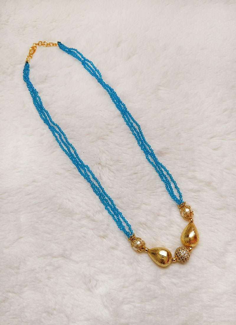 Trendy Blue Spinels Chain in CZ Stone Studded Ball