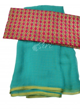 Trendy Cyan Blue fine Chiffon Saree in Zari Checks with Designer Blouse