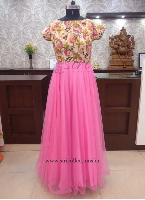 Trendy Digital Print Crepe Pink Net Long Frock
