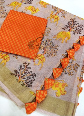 Trendy Digital Print Linen Saree in Fancy Tassels