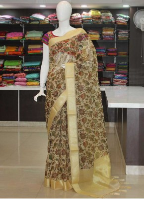 Trendy Digital Print Organza Saree in Rich Pallu Blouse