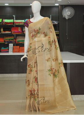 Trendy Digital Print Soft Jute Saree