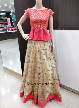 Trendy Gold Net Lehenga with Raw Silk Peplum Blouse