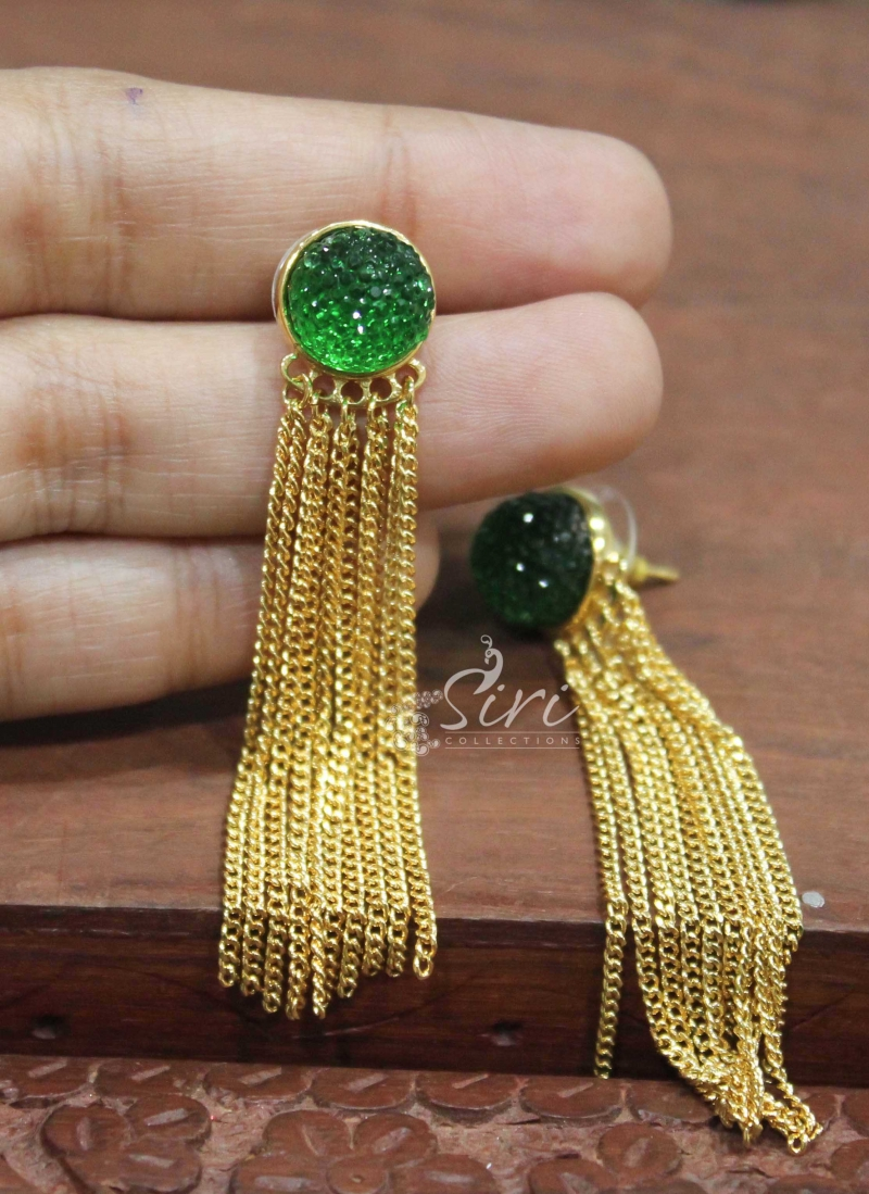 Trendy Gold Plated Chain Earrings