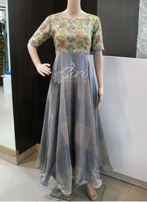 Trendy Grey Raw Silk and Soft Jute Long Frock