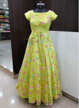 Trendy Lemon Yellow Green Frock with Multi Colour Embroidery Work