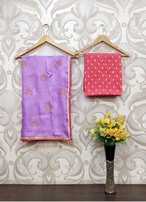 Trendy Lilac Jute Silk Saree in Frills