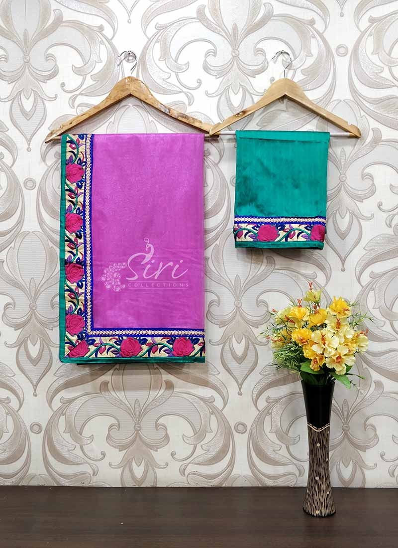 Trendy Lilac Pink Net Saree in Fancy Borders