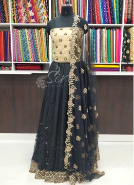 Trendy Net Lehenga and Blouse Fabric Lehenga Set w