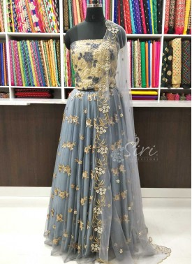 Beautiful Net Lehenga and Blouse Fabric Lehenga Set with CutWork Dupatta
