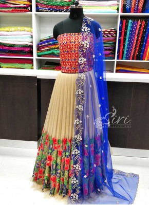 Trendy Net Lehenga and Raw Silk Blouse Fabric Lehenga Set
