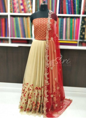 Trendy Net Lehenga Raw Silk Blouse Fabric Lehenga Set with CutWork Dupatta