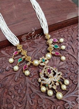 Trendy Offwhite Pearl Beads Chain in Designer Pendant