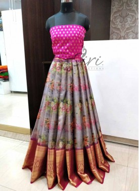 Trendy Organza Lehenga Fabric with Banarasi Silk Blouse