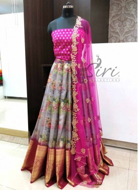 Trendy Organza Lehenga Fabric with Banarasi Silk Blouse and CutWork Dupatta