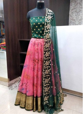 Trendy Organza Lehenga Fabric with Raw Silk Blouse and Cut Work Dupatta