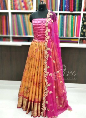 Trendy Organza Lehenga Fabric with Banarasi Silk B