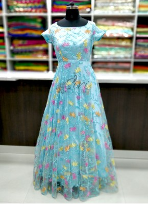 Trendy Pastel Blue Frock with Multi Colour Embroidery Work