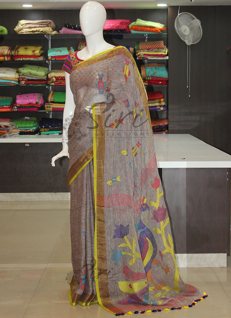 Trendy Pastel Brown Grey Jamdani Pure Linen Saree