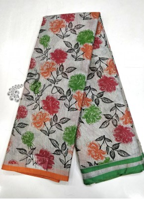 Trendy Printed Silver Tissue Saree