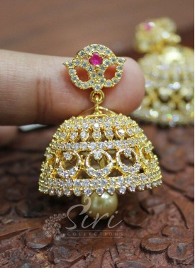 Trendy Ruby AD Stone Jhumkis with Pearl Drop